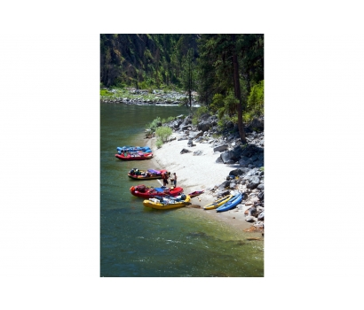 Rafts and beach on Idaho's Main Salmon River