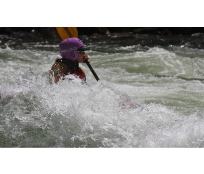 Jo Deurbrouck in whitewater kayak