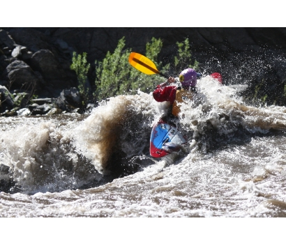 Jo Deurbrouck whitewater kayaking on the Salmon River